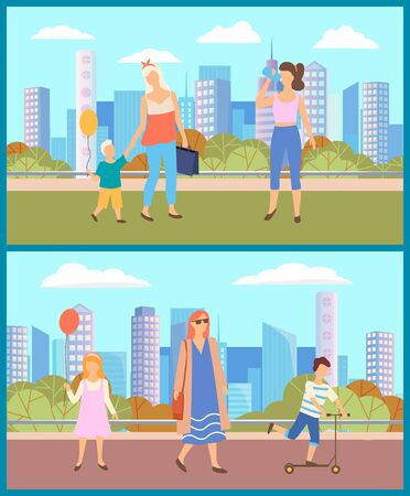 People walking in city park in summer. Girl and boy with colorful balloons and mothers near them. Kid riding scooter and woman drinking water. Warm weather in town. Vector illustration in flat style