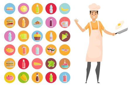 Person standing with pan and frying pan vector, hobby person with ingredients. Sushi and juice, broccoli and salmon, pepper and sauce, chicken meal. Masterchef with food icons. Smile chef. Flat style