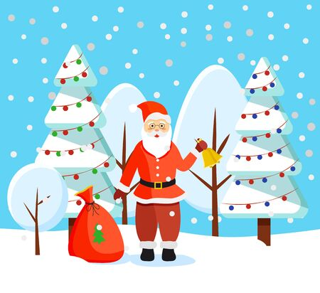 Santa Claus and winter landscape. Saint nicholas ringing bell standing by sack with presents. Landscape with pine trees decorated with baubles and garlands for christmas holiday celebration vector 向量圖像
