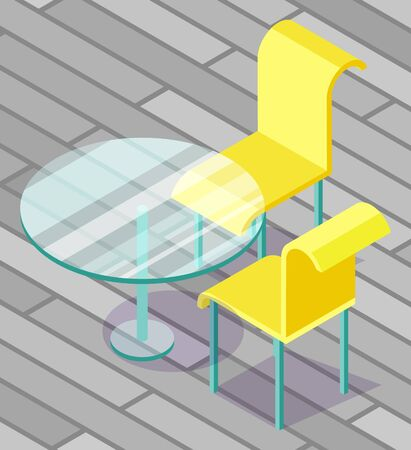 Modern glass round table and two yellow chairs with blue legs standing on the veranda. Beautiful pieces of furniture. Outdoor dining set 3d isometric vector illustration