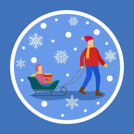 People spending time in wintertime, isolated sticker of father and child on sledges. Snowing weather outdoors and dad with kiddo on sleight with present. Xmas time and winter holidays vector