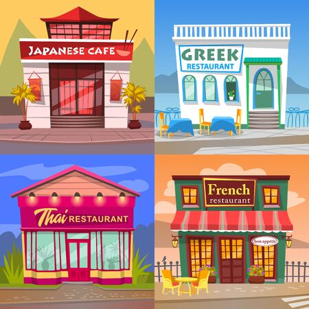 Thai and French cuisine vector, greek and japanese restaurant diner facade. Buildings in orient style, eatery of asian meals and dishes. European and eastern gastronomy set of houses illustration Illustration