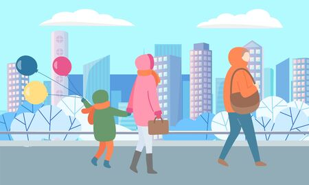 Mother and child holding balloons walking in city vector, winter cityscape with skyscrapers and frozen ground. Street with personage carrying handbag illustration in flat style design for web, print Illusztráció