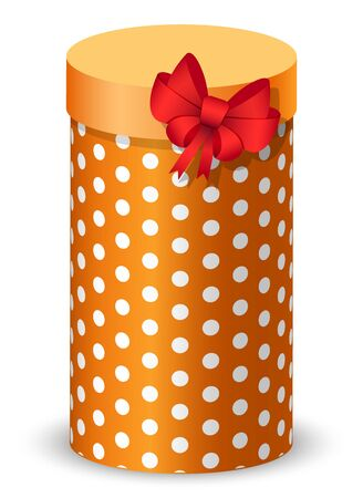 Gift in box for celebration of special occasion. Isolated icon of present in flat style. Birthday surprise, New Year or Christmas greeting. Package with ribbon wrapped in paper with polka dot print