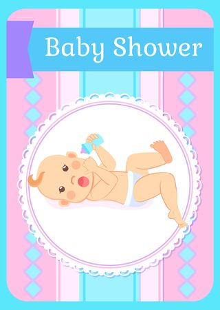 Baby shower greeting card, newborn of four or five months lying on back with bottle of milk or water in hands. Child in diaper, smiling toddler invitation