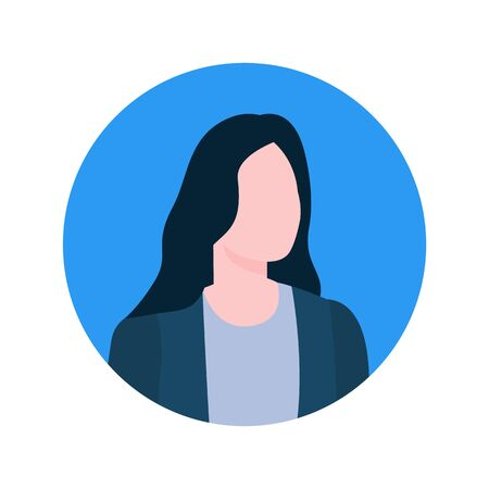 Vista del profilo del consulente online femminile senza volto, personaggio dell'economista del lavoratore esecutivo. I mediatori di vettore affrontano il ritratto nella donna di stile del fumetto isolata cornice rotonda