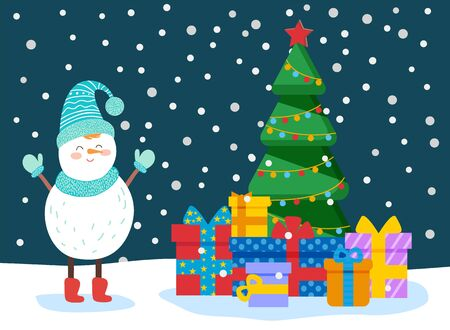 Winter greeting card snowman character standing near fir-tree decorated by garland. Christmas holiday card with present box with ribbon and bow on snow. Snowfall weather with gift and wood vector