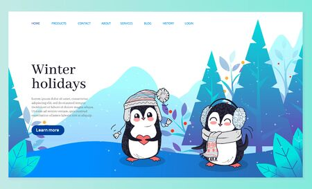 Winter holidays vector, penguins wearing warm clothes. Animal holding heart, cute bird with earmuffs and scarf. Wood with pine trees in december. Website or webpage template, landing page flat style Banque d'images - 134066409