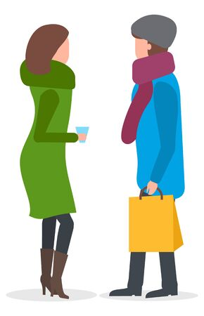 Female friends discussing events vector. Isolated characters wearing winter clothes talking. Neighbors with bag and cup of coffee or hot tea. Lady returning home from shopping carrying packet
