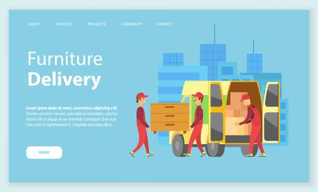 Furniture delivery vector, people carrying chest of drawers and bought wooden products in lorry, . Transportation and shipping of goods in car. Website or webpage template, landing page flat style
