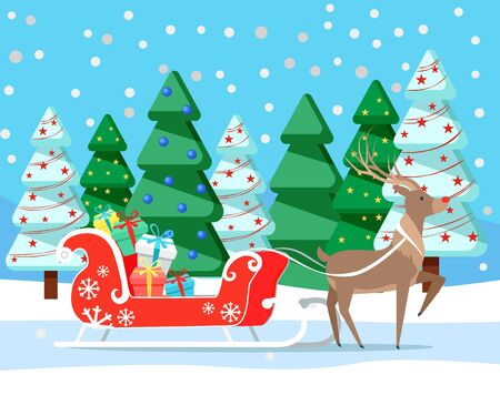 Reindeer with carriage loaded with gifts. Deer with presents in boxes in winter forest with pine trees. Animal in woods with spruce and garlands. Ilustrace