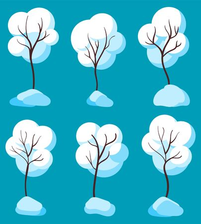 Trees covered with snow vector, isolated set of seasonal botanical elements. Plants with black branches under snowflakes. Wintertime flora for landscape drawing design. Flat style illustration