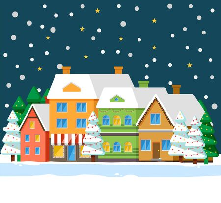 Winter cityscape with houses roofs covered with snow. Night town with homes and pine trees growing outdoors. Street with buildings and spruce with garlands. Christmas time celebration vector
