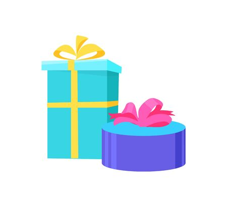 Presents in festive paper, vector round and square gift boxes topped by bow, blue color boxes carton packages isolated icons. Shopping packaging mockups