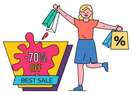 Best sale 70 percent lowering of price vector, isolated woman with shopping bags happy of purchases. Female character shopper with packages from stores and shops. Discounts and proposals at market