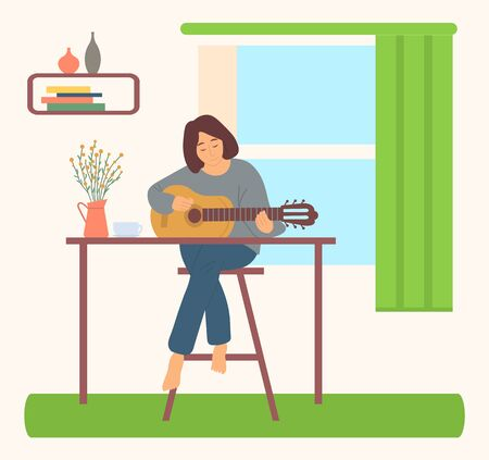 Woman at home sitting on high chair near table and playing guitar. Vector female lady sits at window and play on musical instrument, vase on table, shelf with pottery. Girl does her hobby Vetores