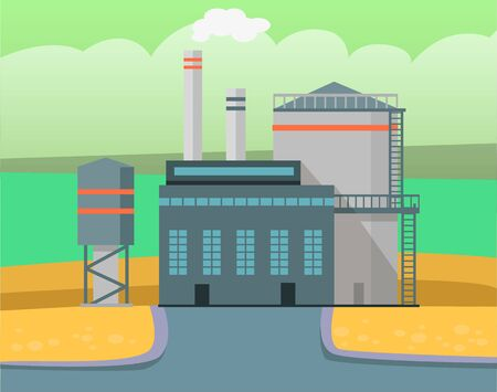 Factory exterior vector, industrial building with pipes and smoke. Metallurgical enterprise, industry development in city. Urbanscape with smog, road to manufacture