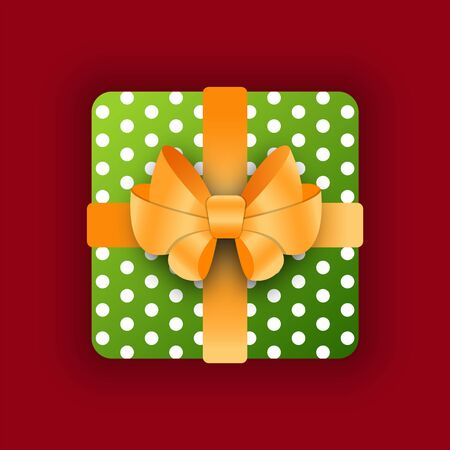 Gift in box with golden bow vector. Celebration of holiday, special even congratulations. Xmas or birthday present. Package in wrapping paper with polka dot print. Container with surprise flat style