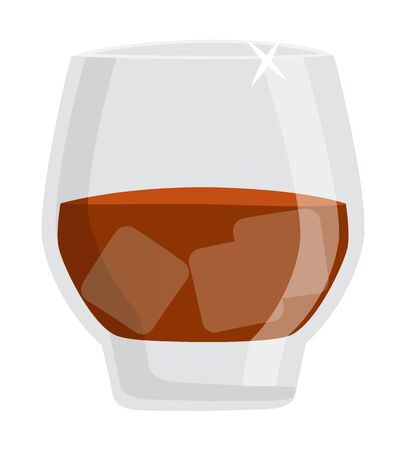 Alcoholic drink vector, isolated glass of fine alcohol flat style. Whiskey or rum drinking of cold beverage with ice cubes, cold liquid in container booze 向量圖像