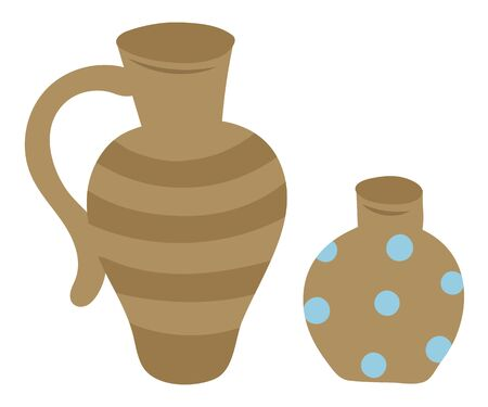 Pottery symbols, isolated vector clay jar and vase. Vector striped ceramic water-glass bowl and dotted flower pot, retro archeology glassware with handle