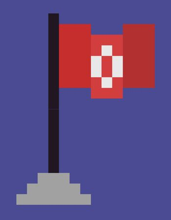 Flag in game vector, 8bit graphics isolated icon in flat style, 80s style of object, cloth fabric material on wooden pole standing on pedestal pixel art