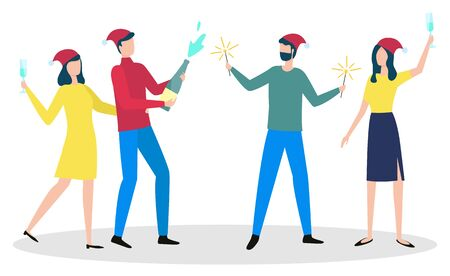 People dancing together and greeting each other with winter holiday. Man stand with vector champagne bottle, guy with sparkles and women with glass of alcohol. Traditional xmas celebration with friend