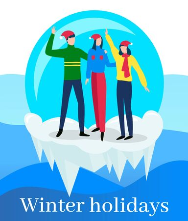 People in snowball glass waving hands and posing vector. Winter holidays celebration. Man and woman wearing santa claus hats and warm clothes standing on icicle and frozen ground flat illustration