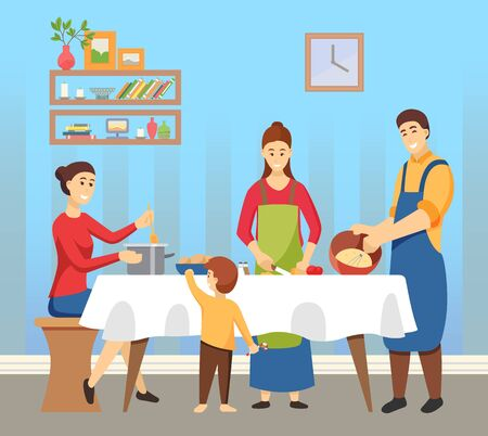 Family preparing for winter holidays vector. Father and mother with kids making meals and dishes at home. Homemade food for Christmas and new year celebration. Interior of room with shelves and clock