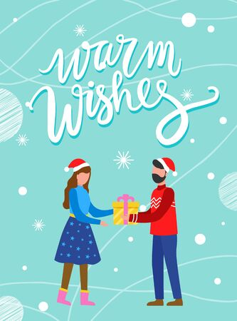 Warm wishes postcard decorated by snowflakes pattern. Man and woman characters wearing Santa hat and holding gift box. Christmas greeting card in blue color, people standing with present vector 向量圖像
