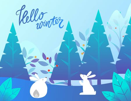 Hello winter vector, rabbits with long ears in pine tree forest. Landscape with foliage and spruce, snowy hills and bushes. Bunnies on nature, cute animals playing outdoors. Flat style greeting card