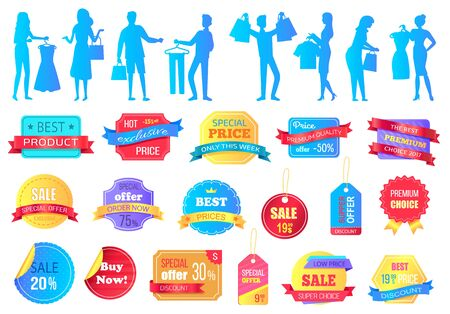 People silhouette buying clothes in store vector, isolated set of banners. Sale and discounts reduction of price and lowering of cost. Clearance promo. Business black friday sale stikers. Flat cartoon Vettoriali