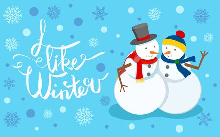 I like winter, snowman wearing top hat and knitted scarf. Sculptures made of snow hugging couple. Greeting card with calligraphy text and bokeh effect. Seasonal holidays celebration flat style vector Ilustração