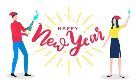 Friends having fun and greeting each other with winter holiday. Man standing with champagne bottle and woman with glass of alcohol. Red vector caption happy New Year on white background with people