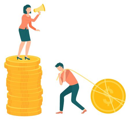 Frau und Mann arbeiten Investitionswachstumsvektor, isolierte Leute im Team. Familienbudget. Dame mit Megaphon, das Mann anschreit. Arbeiter mit Münzen und Faden. Familienfinanzierung. Frau schreit Ehemann an
