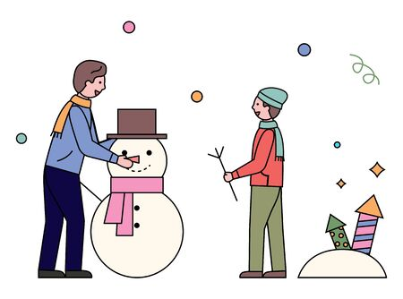 Winter activities of father and son vector. Man and boy sculpting snowman character decorating it with hat and knitted scarf. Family recreation in winter season, dad and child outdoors flat style