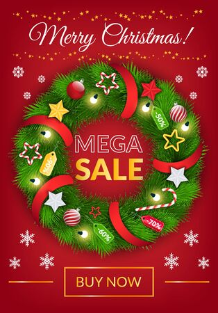 Merry Christmas and business promotion of mega sale. Postcard decorated by xmas wreath with toys and snowflakes, link buy now. Website or landing page with fir-tree and shopping advertisement vector