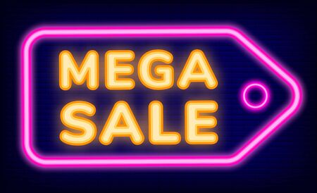Mega sale of shop vector, neon sign. Lowering of price in store. Shopping icon in retro style, isolated tag with text in brick background. Banner for clearances and promotions at market illustration