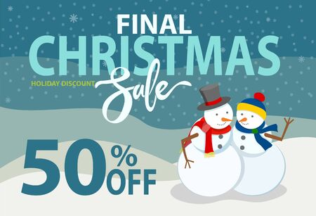 Final Christmas sale, promotional banner with announcement of 50 percent off. Snowman couple, sculptures made of snow, male and female figures. Discounts and offers for shoppers flat style vector Çizim
