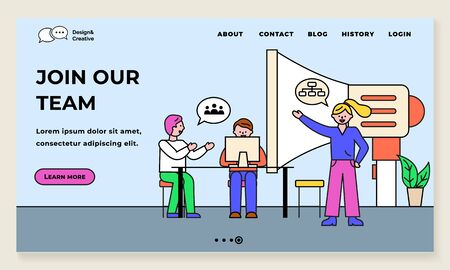 Join our team, business project with team leader giving orders. Programmers on seminar discussing idea. Megaphone for announcements. Website or webpage template, landing page flat style vector