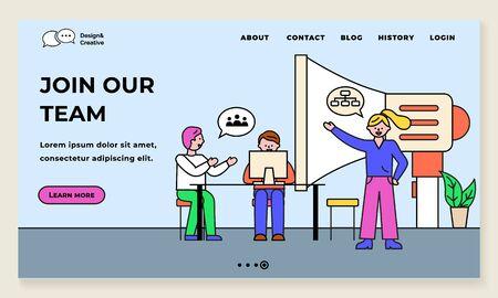 Treten Sie unserem Team bei, Geschäftsprojekt mit Teamleiter, der Befehle erteilt. Programmierer auf Seminar diskutieren Idee. Megaphon für Durchsagen. Website- oder Webseitenvorlage, flacher Vektor der Zielseite Vektorgrafik