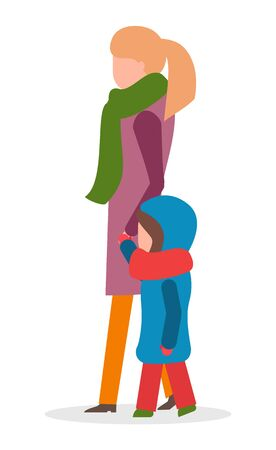 Woman and kid wearing warm clothes walking outdoors vector. Mom and child spending time outside in winter. Kiddo wearing thick jacket and hood with scarf on neck. Family on weekends isolated Çizim