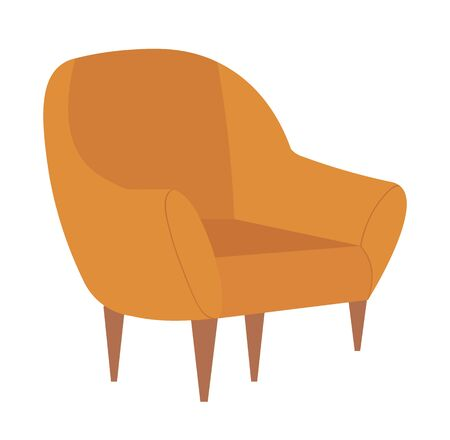 Chair with wooden legs vector, isolated armchair in vintage style, comfort in house, home interior armchair with soft texture, comfortable furniture Illusztráció