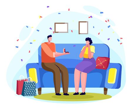 Man sitting on sofa and giving ring to woman, flat decorated by confetti. Male proposing female to get married in room. Romantic day of boyfriend and girlfriend characters with jewelry present vector