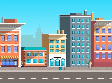 City street vector, empty town with old houses and buildings with fancy rooftops. Urban area residential constructions, skyscrapers decor. Cityscape with houses facades. Flat cartoon