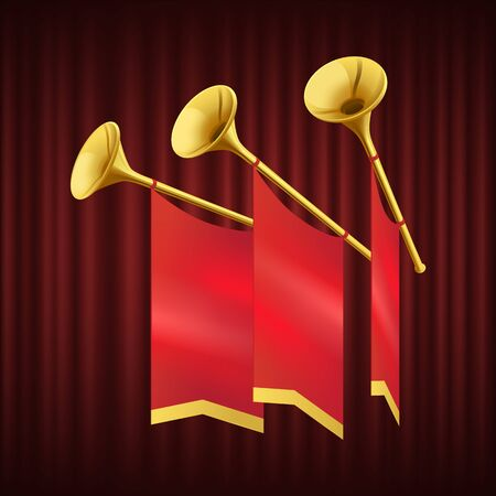 Golden trumpet with small red flag. Musical instrument for king orchestra. Fanfare for play music. Monarch herald, brass instrument, royal regalia