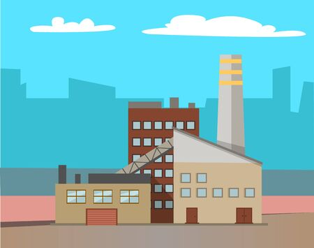 Industrial enterprises vector, cityscapes and cities with factories. Smoke and fumes from pipes, industry development, manufacture old town structure. Urbanscape road Building of factory. Flat cartoon Archivio Fotografico - 134152565