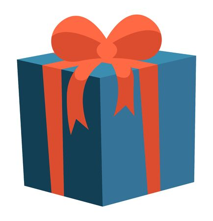 Celebration of holidays and special occasions. Isolated icon of blue box with red ribbon bow on cap. Tradition of exchanging gifts. Celebration and greeting with birthday or anniversary vector