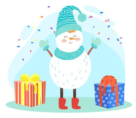 Christmas and wintertime holidays celebration card. Snowman wearing warm clothes standing under falling confetti. Presents and gifts in packages. Cute winter character with carrot nose vector