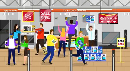 Big discounts in marketplace with electronics. Man and woman characters buying tv and appliances in store. Special sale and promotion for buyers buying gadgets in supermarket vector. Black friday