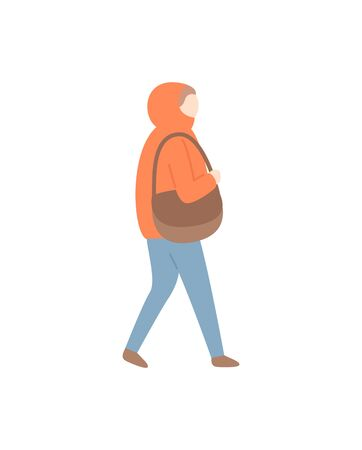 Woman walking carrying handbag and wearing cold seasonal clothes vector. Lady outdoor going home, wintertime frost and warming clothing on female Çizim